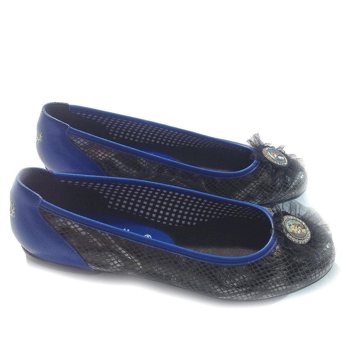 PantoffelDIVA, Ballerina Trachtenschuhe in pfiffigem Trachten Look Look Look für Dirndl und Lederhosen in Blau, Schwarz, Rot und Grün mit Hirsch auf Ferse Schwarz-marineblau Blau a7db3a