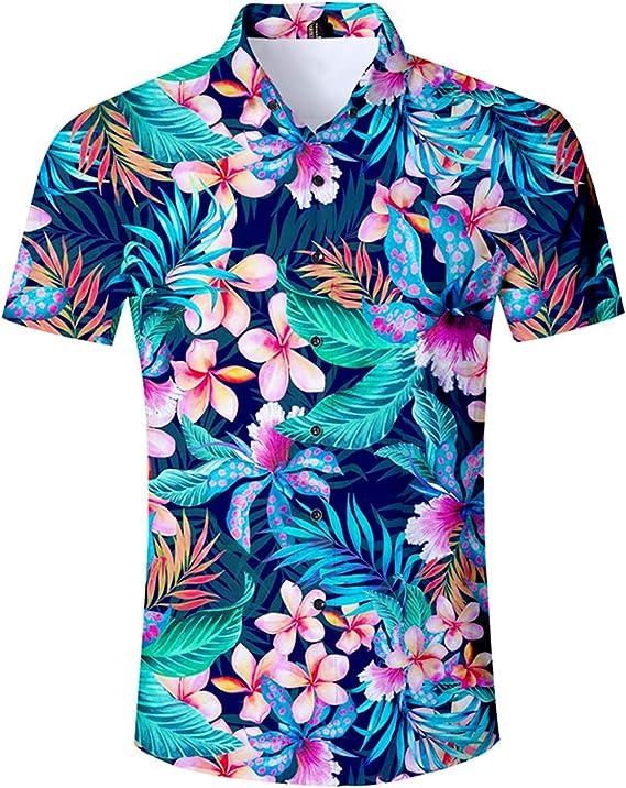 2019 Verano Hombre Camisa de Manga Corta Casual Hawaii para Hombre Camisas de Vestir Hombres Ropa Camisa Estampado de Flores Camisa de Playa Hawaiana Hombre: Amazon.es: Ropa y accesorios