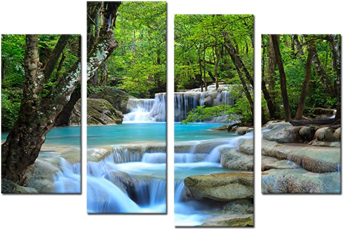 Amazon Com Ik Canvs 4 Pieces Canvas Prints Dreamlike Waterfall Wall Art Forest Landscape Summer Pictures Print On Canvas Giclee Artwork For Walls Decorations Ready To Hang Posters Prints