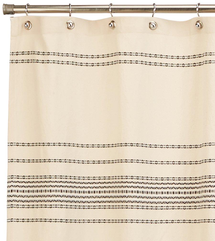 Coyuchi Rippled Stripe Organic Shower Curtain, 72''x72'', Ivory w/Black