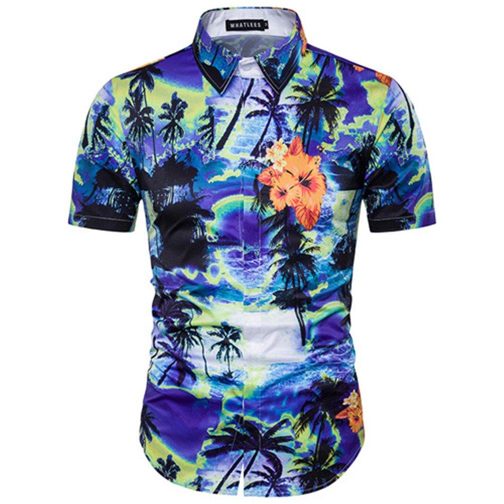 Amazon.com: UMEN Mens Vocation Beach Shirts Casual Short Sleeve Man Camisa Social Shirts: Clothing