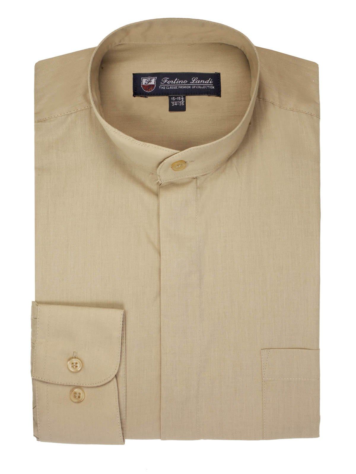 FORTINO LANDI Men's Long-Sleeve Banded Collar Shirt - Khaki Medium(15-15.5 Neck) Sleeve 34/35