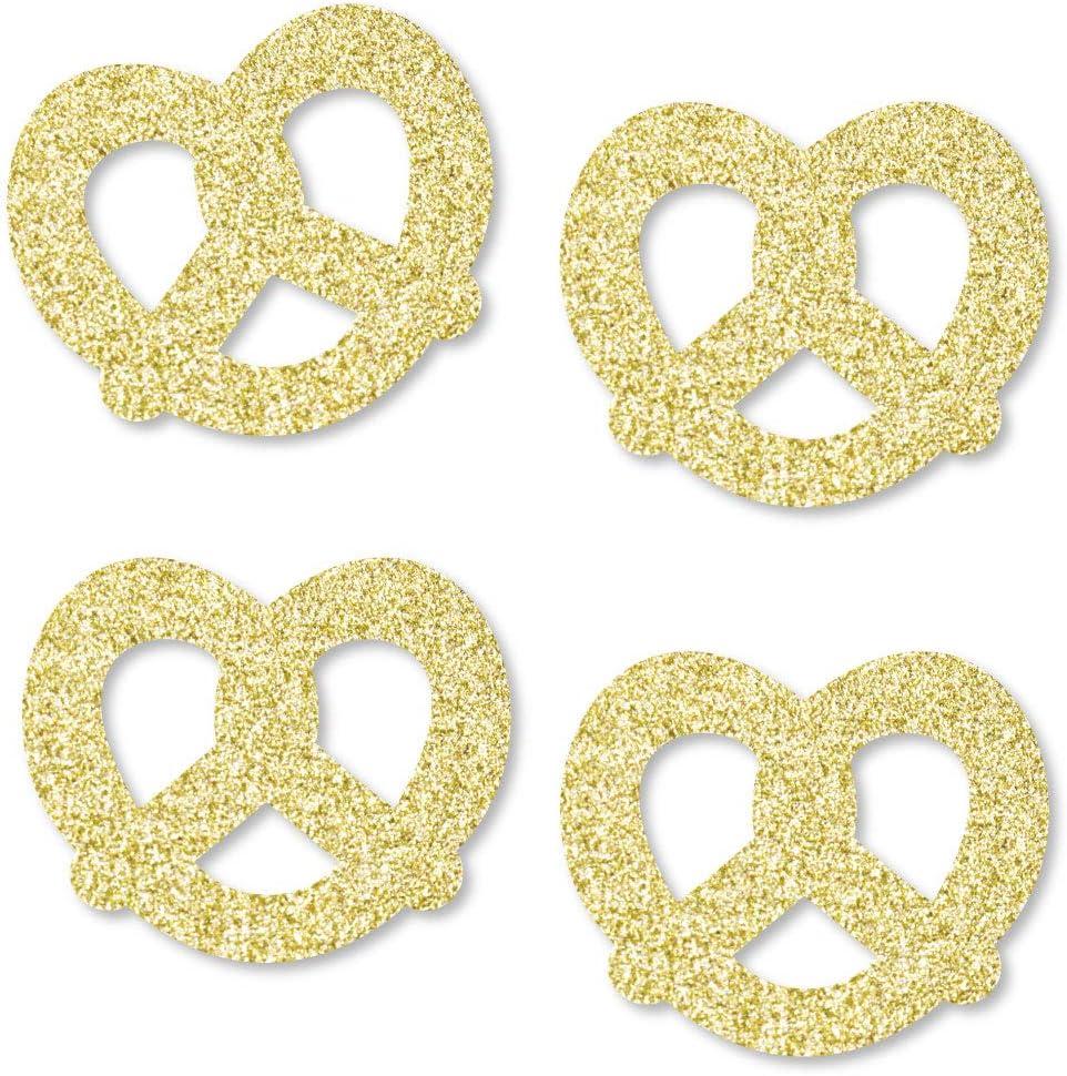 Big Dot of Happiness Gold Glitter Pretzel - No-Mess Real Gold Glitter Cut-Outs - Oktoberfest German Beer Festival Confetti - Set of 24