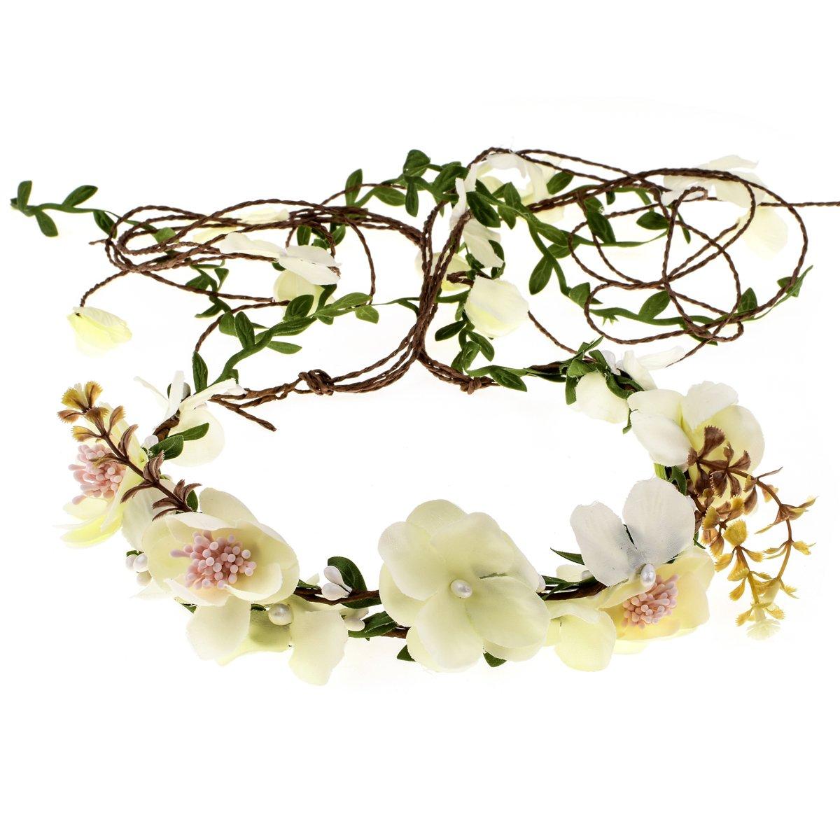 Floral Fall Adjustable Bridal Flower Garland Headband Flower Crown Hair Wreath Halo F-83 (Off-White)