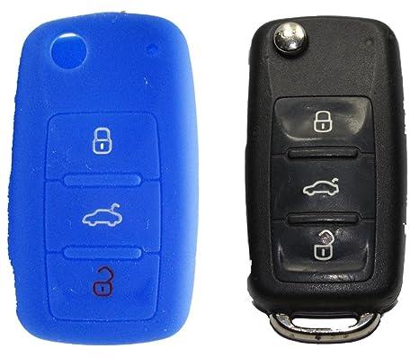 Protective 3-Button Llavero Control Remoto Cover/Case Blue de coche para VW/SEAT/SKODA