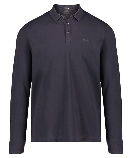 25b0e0297 Hugo Boss Black Pado 10 Pima Cotton Regular Fit Long Sleeve Navy Polo L Navy