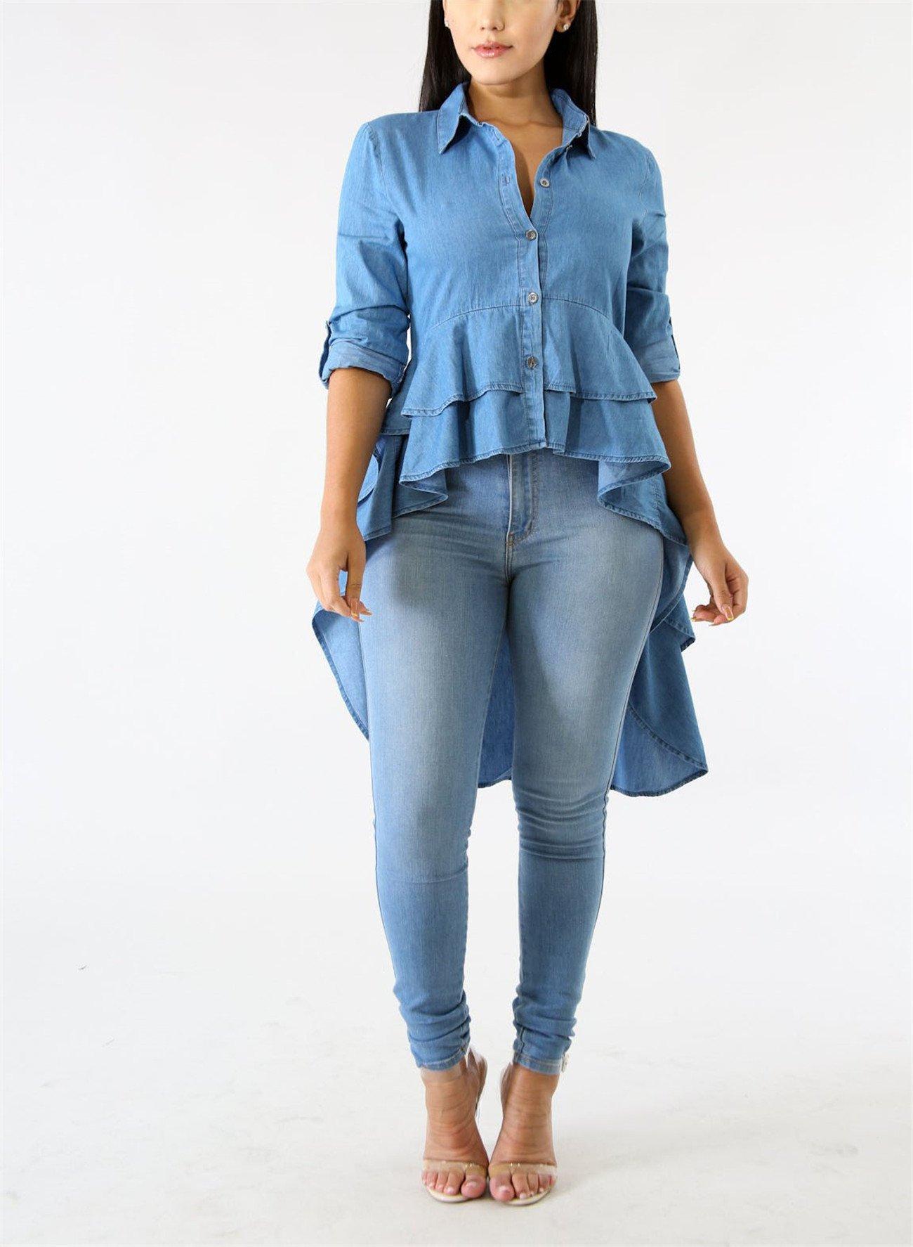 Fashion Cluster Womens Summer Long Sleeve Denim Blue Irregular High Low Hem Buttom Down Tunic Tops Blouse Boho Maxi Polo Shirt Dress XXL by Fashion Cluster (Image #3)