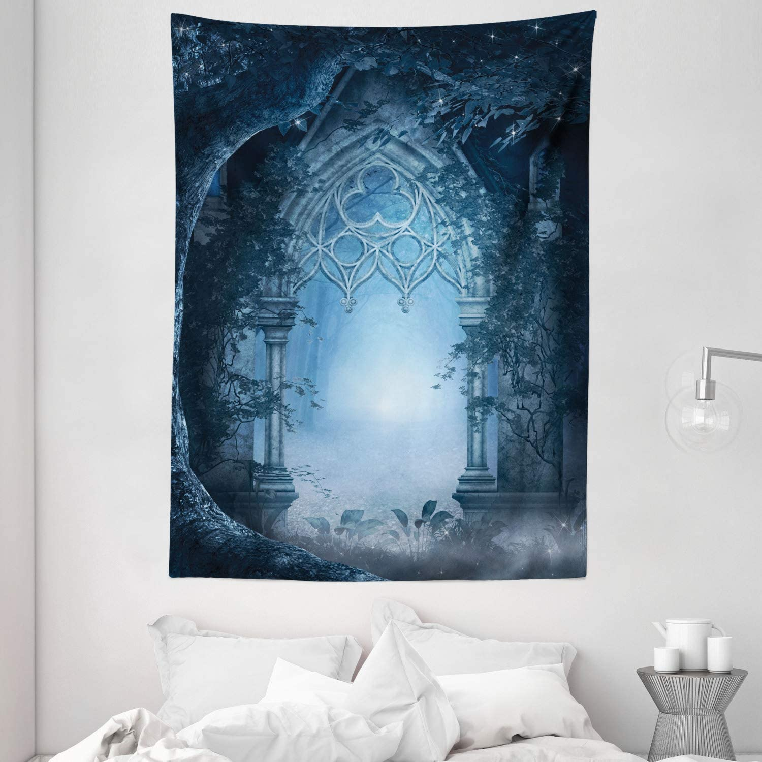 """Ambesonne Fantasy Tapestry, Passage Doorway Through Enchanted Foggy Palace Garden at Night View, Wall Hanging for Bedroom Living Room Dorm, 60"""" X 80"""", Navy Gray"""