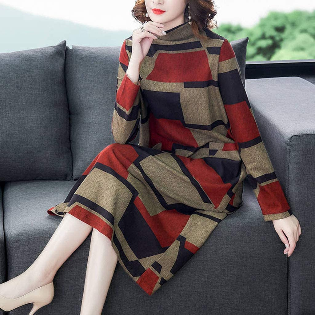 ZOMUSAR Fashion Casual Women O-Neck Long Sleeve Long Dress Printed Ladies Loose Dress