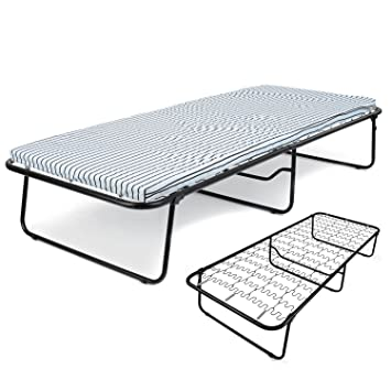 single steel sprung folding guest bed with mattress