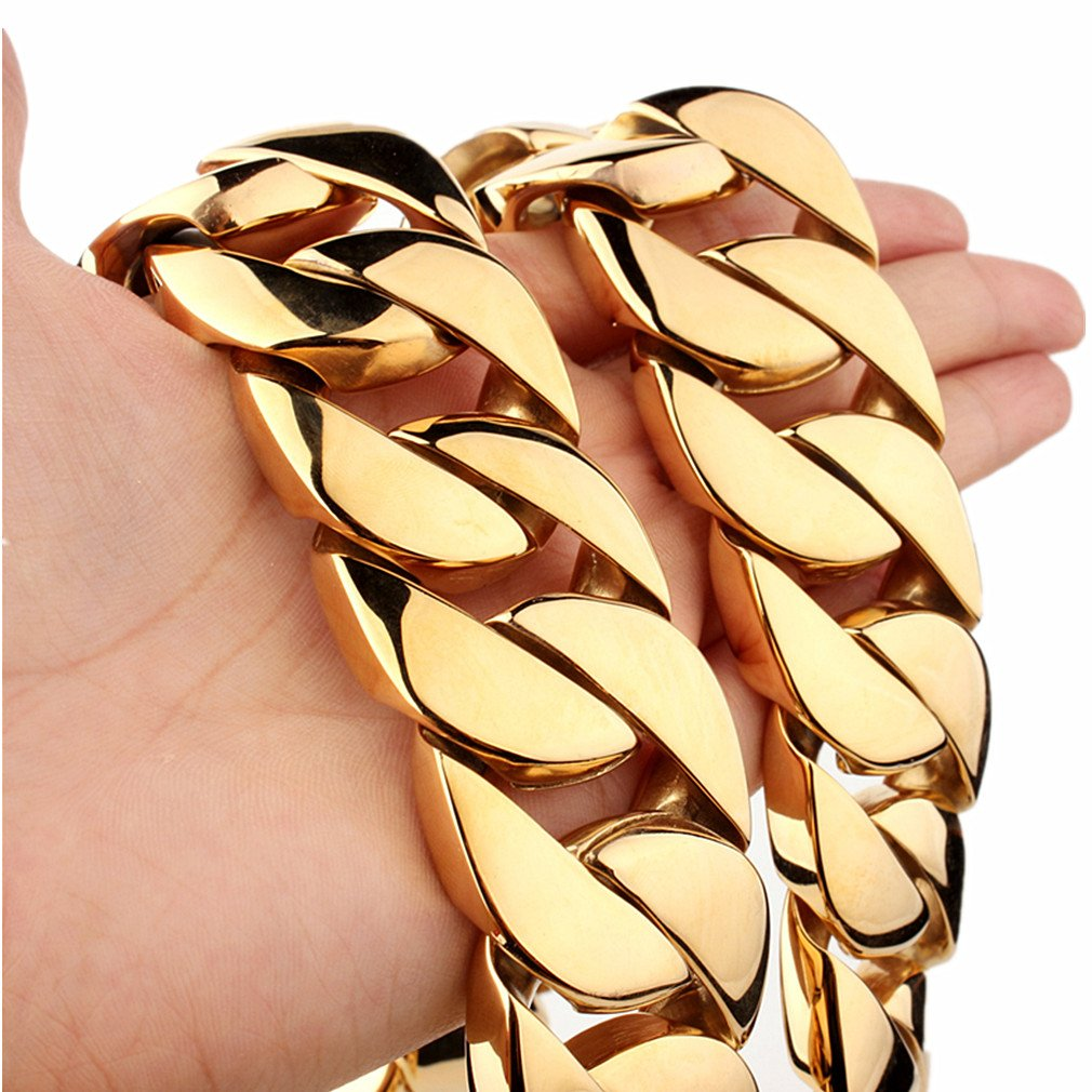 31mm Gold Plated Stainless Steel Cuban Curb Chain Men Necklace 20''-36'' (36)