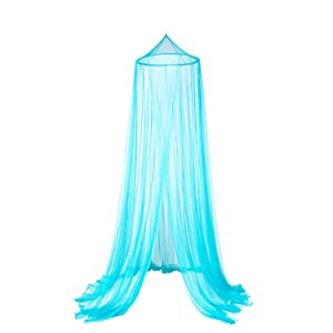 OctoRose Round Hoop Bed Canopy Netting Mosquito Net Fit Crib, Twin, Full, Queen, King (Teal Blue)