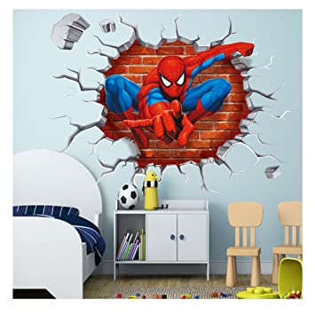 Univocean Spiderman 3d Wall Poster Wallpaper Wall Sticker Home Decor Stickers For Bedrooms Living Room Hall Kids Room Play Room