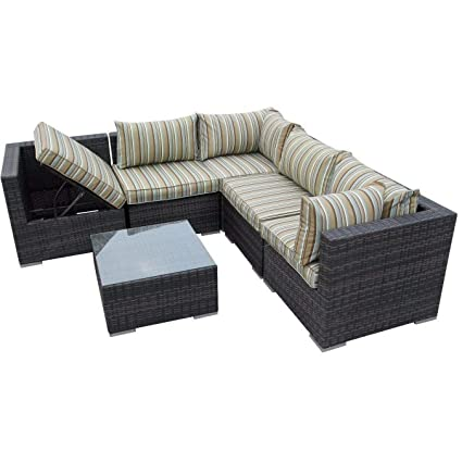 Amazon.com: LYQZ Modern Corner Vine Corner Sofa with Sun Lounger ...