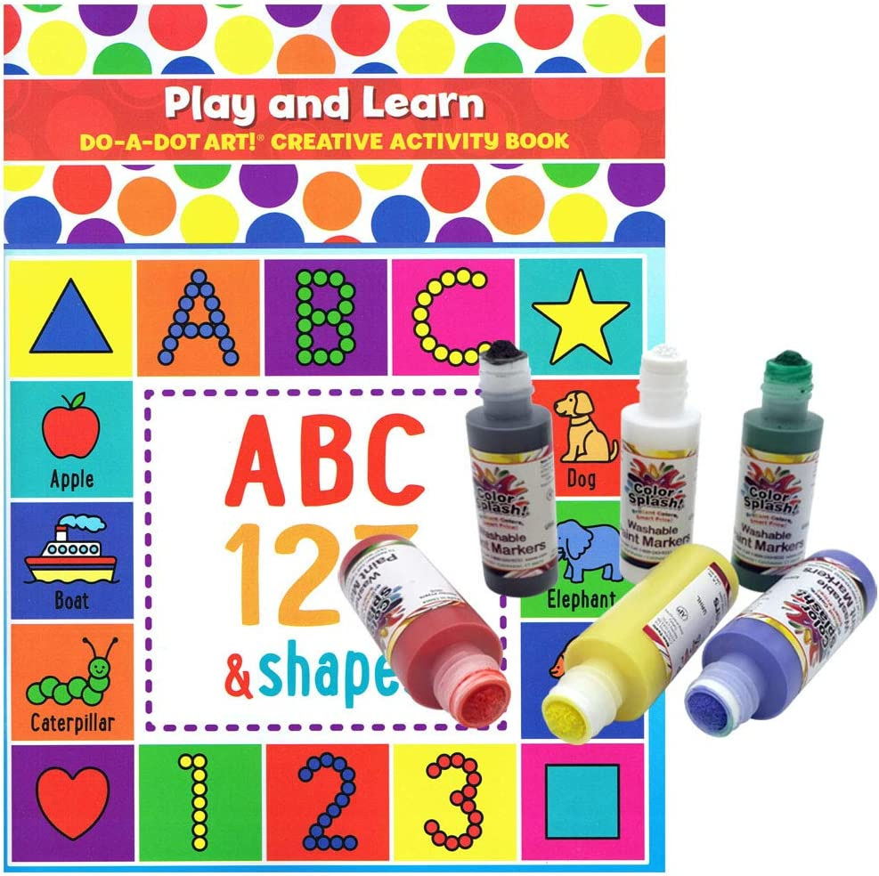 Amazon Com Washable Paint Marker Play And Learn Creativity And Coloring Book Learning Letters Numbers Shapes Drawing Office Products
