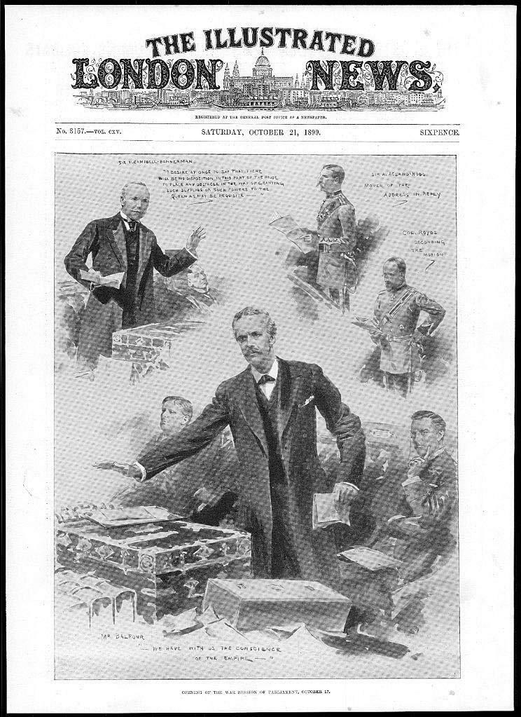 1899 Antique Print - Cartel de la Guerra del Parlamento de ...