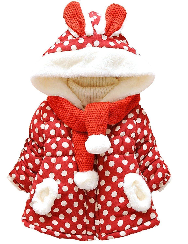 AKY Bébé Fille Polka Dots Lapin Animal Manteau avec Echarpe Mignon Blousons pour Enfant 0 Mois - 3 Ans