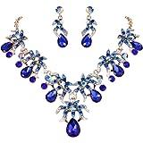 EVER FAITH Rhinestone Crystal Flower Cluster Teardrop Necklace Earrings Set