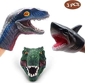 SUIYUEOUR- DinosaurToys Tyrannosaurus Rex ,Velociraptor Hand Puppet & Soft Rubber Realistic Shark Hand Puppet for Toddlers,Boys, Grils, Toys for Kids Animal Puppets Rubber Set of 3 Pack