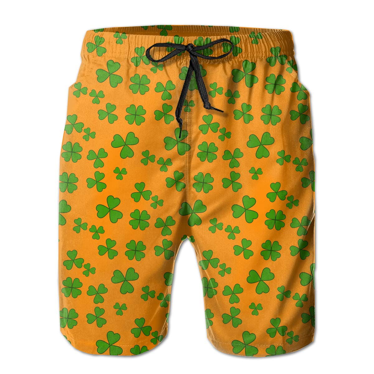 Xk7@KU Mens Casual Beach Shorts Polyester St Patricks Day Shamrock Pattern Beachwear with Pockets