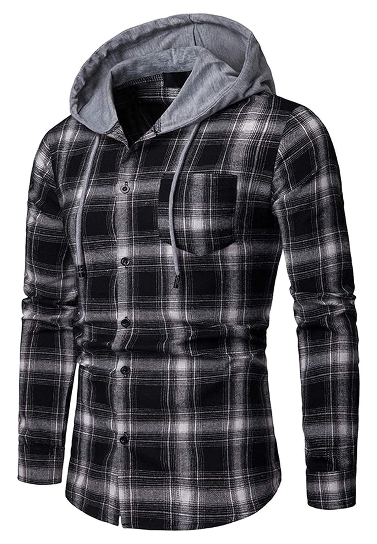 WHATLEES Mens Long Sleeve Hoodie Plaid Classic Flannel Shirt