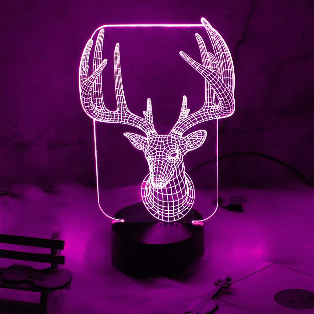 Nattork 3D lamp Amazing Animal Illusion Lamps LED Optical Desk Table Lamp Gift for Kids Visual Lamp (elk)