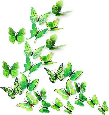 Spiksplinternieuw MissBirdler 24 vlinders groen 3D-effect koelkastvlinder magneet UH-82