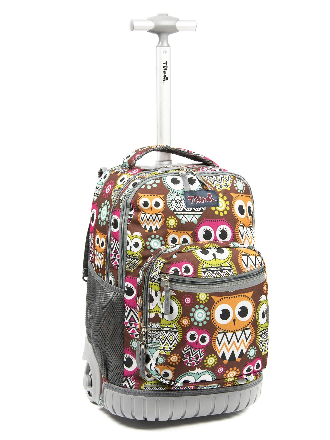 Tilami New Antifouling Design 18 Inch Oversized Load Multi-Compartment Wheeled Rolling Backpack Luggage for Kids … (Owl Big Eye)
