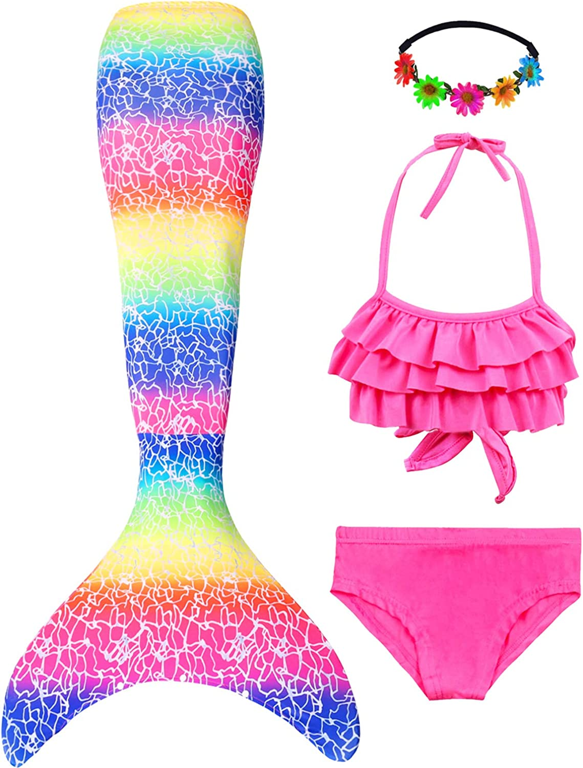 Mermaid Bathing Suit Set No with Monofin Mermaid Swimsuit for Girls Swimmable Costume Mermaid Tails for Swimming