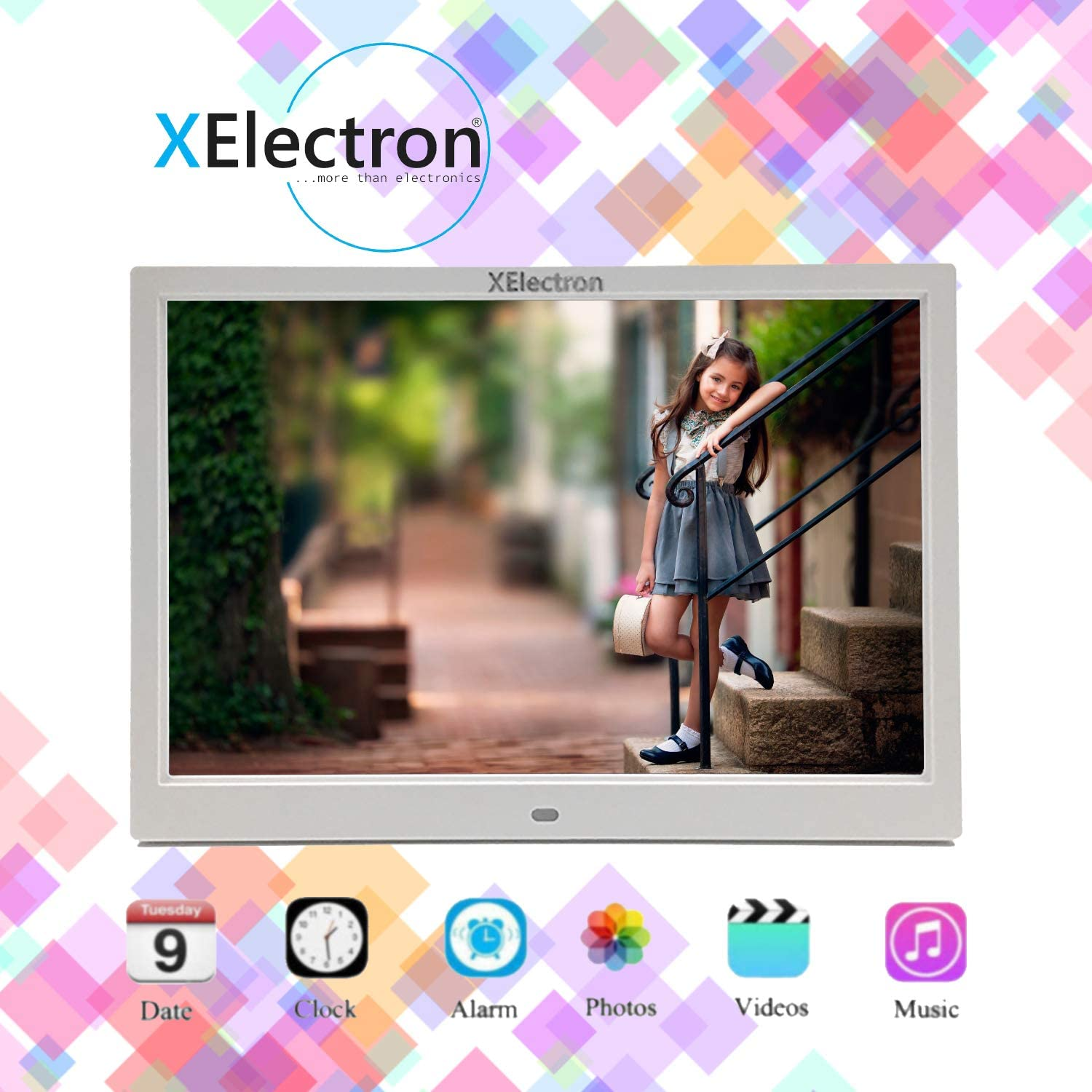 XElectron 12 Inch Digital Photo Frame 1920x1080 High Resolution Full IPS Display Photo//Music//Video Player Calendar Alarm On//Off Timer Support USB and SD Card Remote Control Black