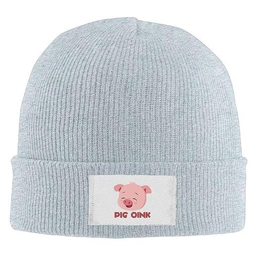 069fcf116ab Amazon.com  Hallome Adult Hats Pig Oink Men Women Wool Cap Cartoon Beanies  Knitted Caps Warm Winter Hats  Clothing