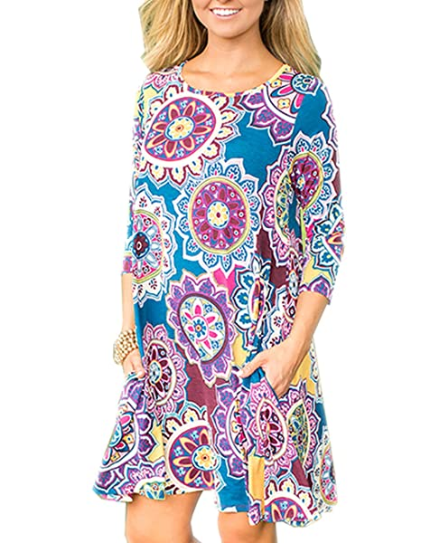 f9257fbcaf3 Women's 3/4 Sleeve Boho Floral Printed Swing Dress Casual Tunic Tops for  Leggings &