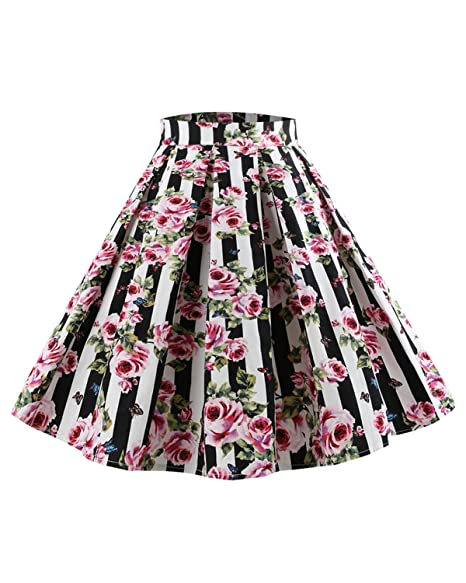 2503b30741f40 ZAFUL Womens Vintage Plus Size Skirt Floral Printing Pleated Big Swing Midi  Plus Skirt(Floral