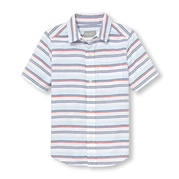be1916a6 The Children's Place Boys' Short Sleeve Button-Up Shirt White 98076, X-