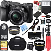 Sony ILCE-6300 a6300 4K Mirrorless Camera w/16-50mm Power Zoom Lens + 32GB Accessory Bundle + DSLR Photo Bag + Extra Battery + Wide Angle Lens+2x Telephoto Lens + Flash + Remote + Tripod
