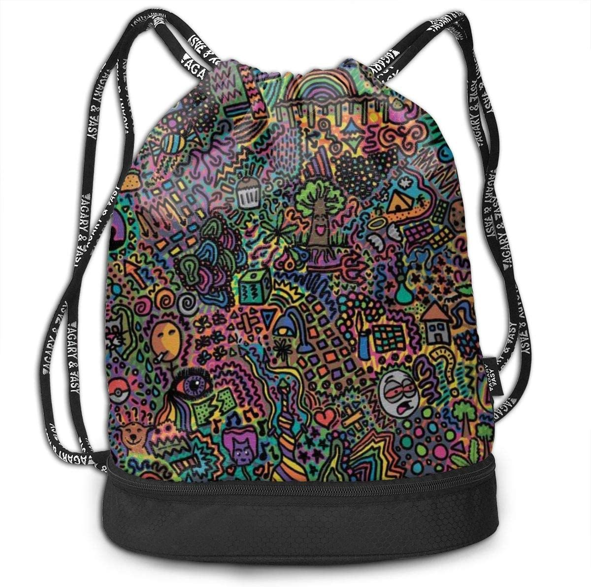 GymSack Drawstring Bag Sackpack Colorful Butterfly Painting Sport Cinch Pack Simple Bundle Pocke Backpack For Men Women