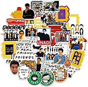 Funny Friends Stickers 50PCS Friends TV Show Theme Merchandise Stickers Waterproof Vinyl Stickers for Laptop, Water Bottles, Bicycle, Skateboard, Phone Trendy Decals Luggage Graffiti Patches
