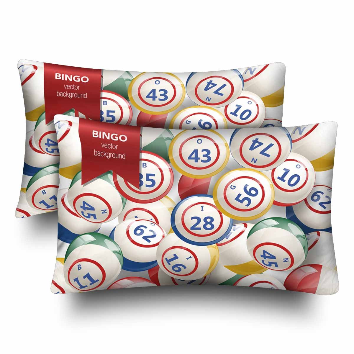 InterestPrint Bingo Lottery Numbers Balls Pillow Cases Pillowcase Queen Size 20x30 Set of 2, Rectangle Pillow Covers Protector for Home Couch Sofa Bedroom Decoration