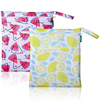 Viyuse 2pcs Cloth Diaper Wet Dry Bags Washable Waterproof Two Zippered Pockets Double Infant Stroller Travel Beach Pool Gym Bag for Swimsuits & Wet Clothes (Lemon+Watermelon)