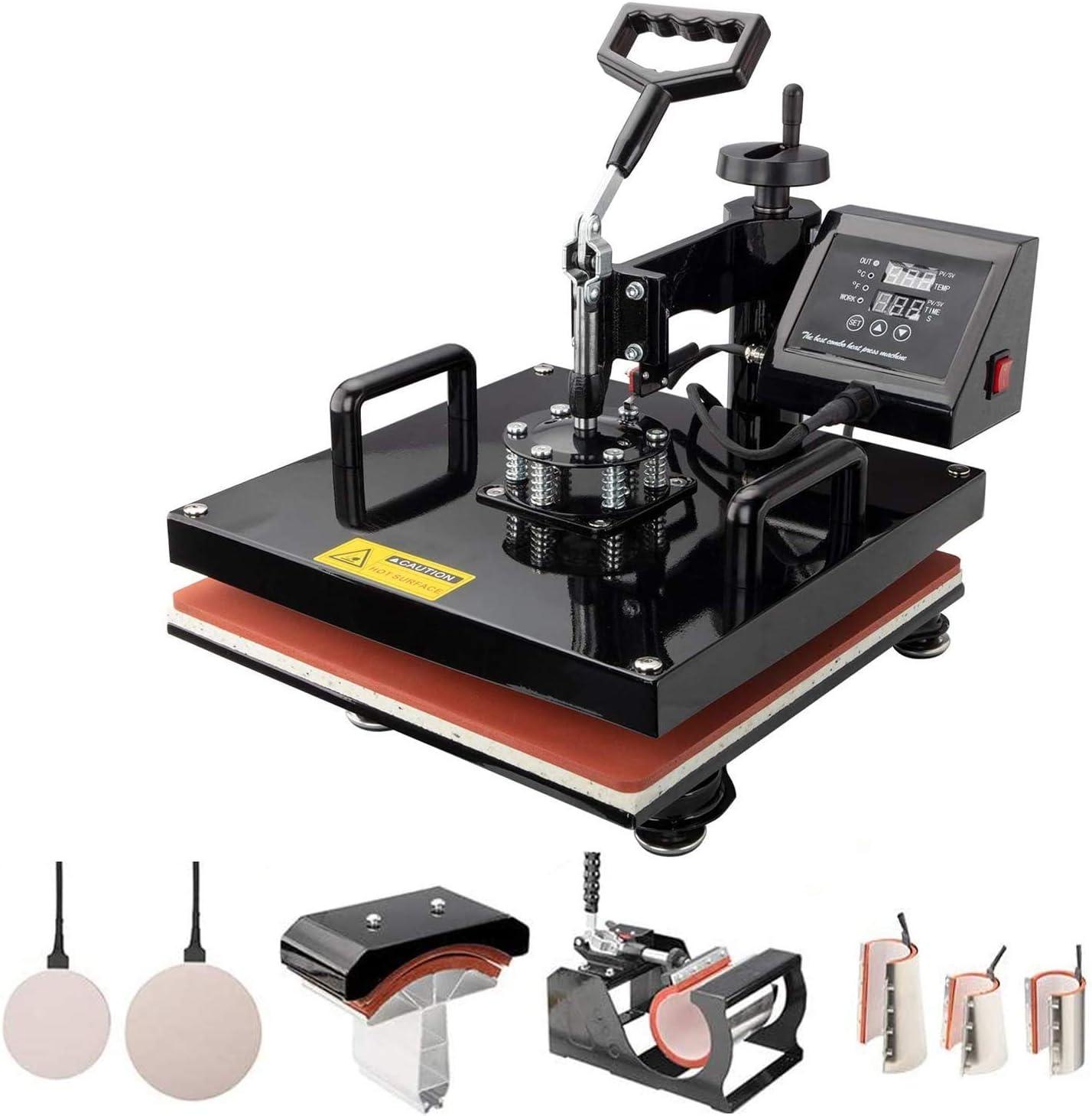 TUSY Heat Press Machine Digital Industrial Quality Printing Press Heat Transfer Machine for Hat Plate//Cap//T Shirt 15x15 inch