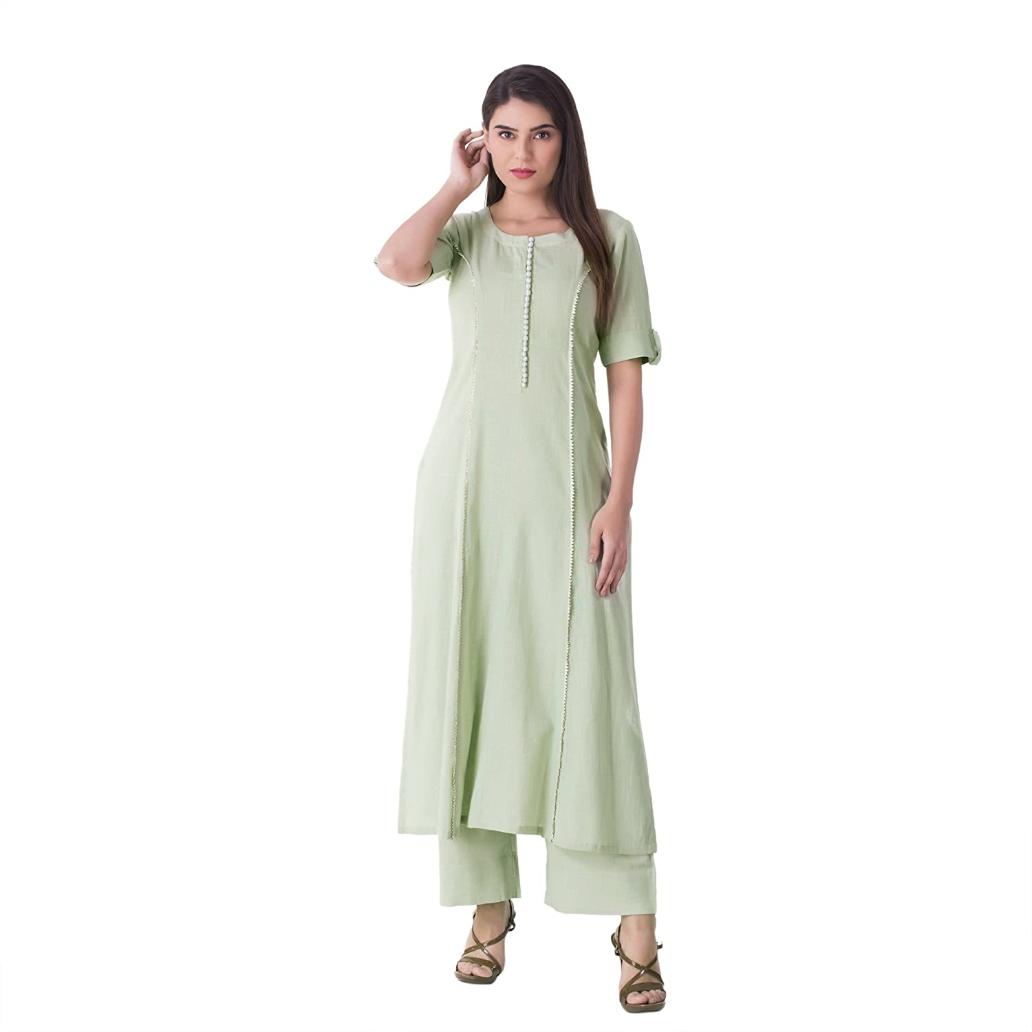 c30fa014e9 Khushal K Women's Cotton Kurta With Palazzo Pant Set: Amazon.in: Clothing &  Accessories