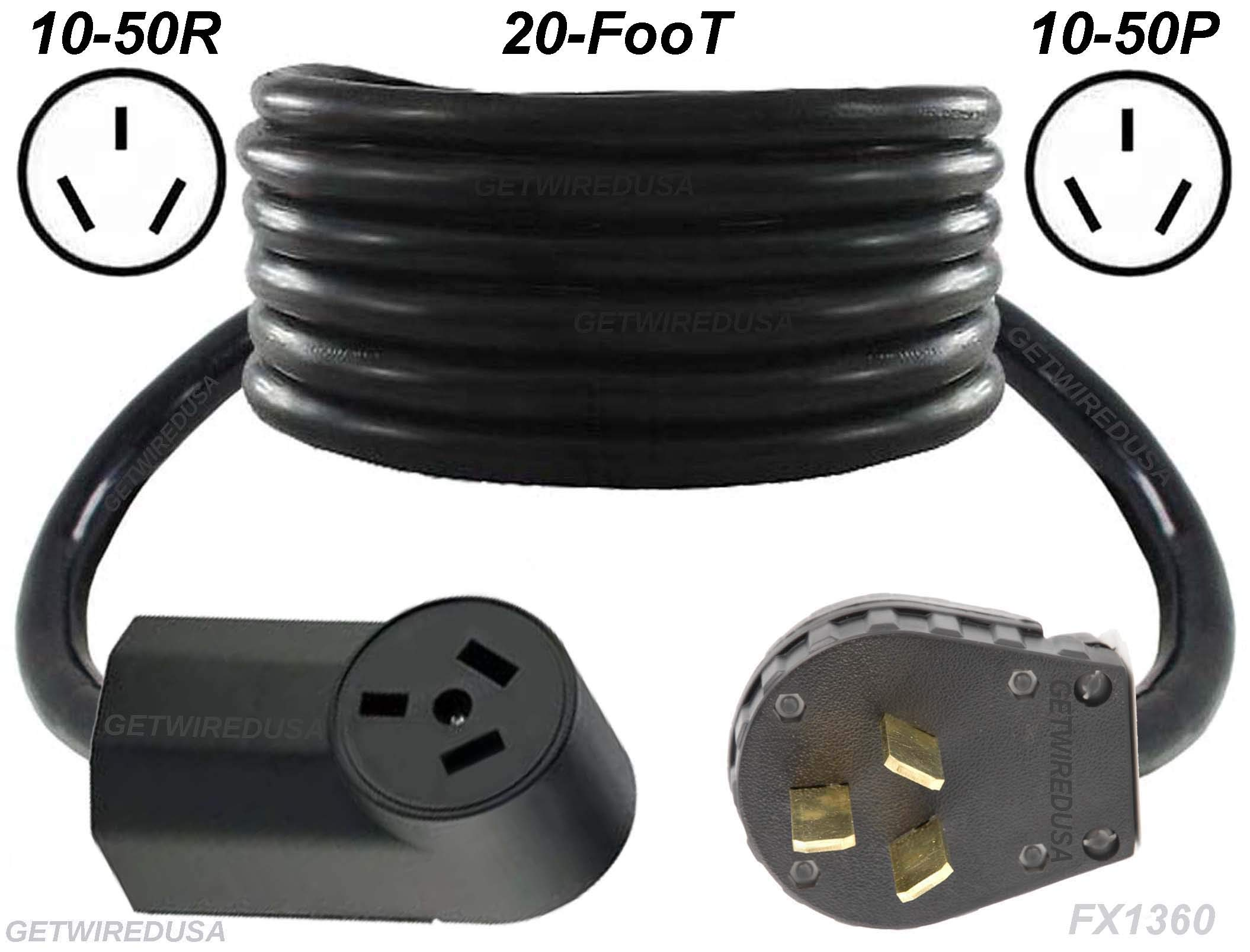 Range, Stove, Oven, 20-FT Extension Cord 10-50P Male 3-Pin Plug To 10-50R Female Receptacle, Heavy Duty, Real Copper Wire, 10/3 10AWG 10-Gauge, NEMA, 20-Foot Long, Made In American, FX1360-R by getwiredusa