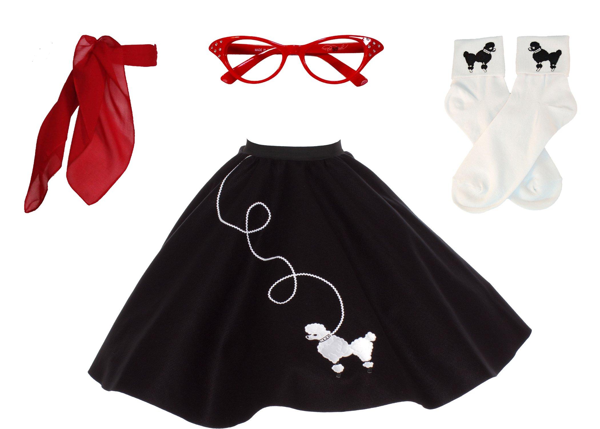 Hip Hop 50s Shop Adult 4 Piece Poodle Skirt Costume Set Black and Red XLarge/XXLarge