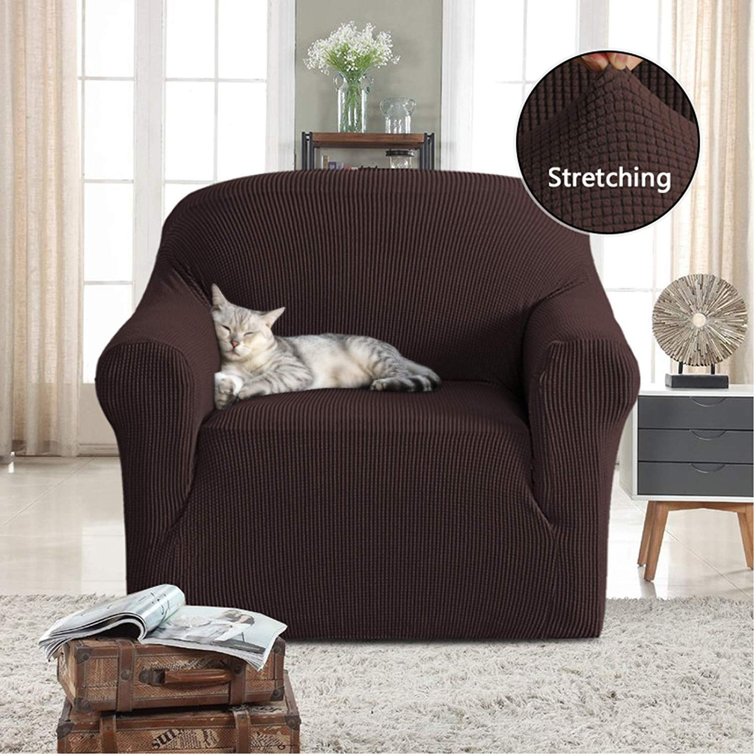 High Stretch 1 Piece Jacquard Lycra Sofa Cover//Slipcover Soft Spandex Form Fit Slip Resistant Stylish Furniture Protector Couch Covers for Pets Loveseat 2 Seater Brown PrimeBeau PBSlipcover1LS/_Brown