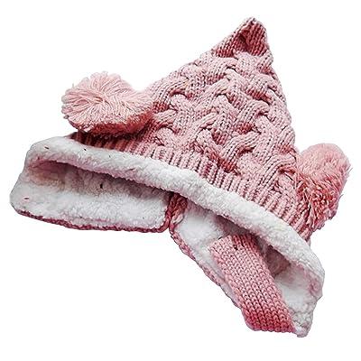 Bonnet pour bebe - TOOGOO(R) Bebe Garcons Filles Tricot Crochet etoffe a cote Chapeau bonnet en Hiver chaud (Jaune)
