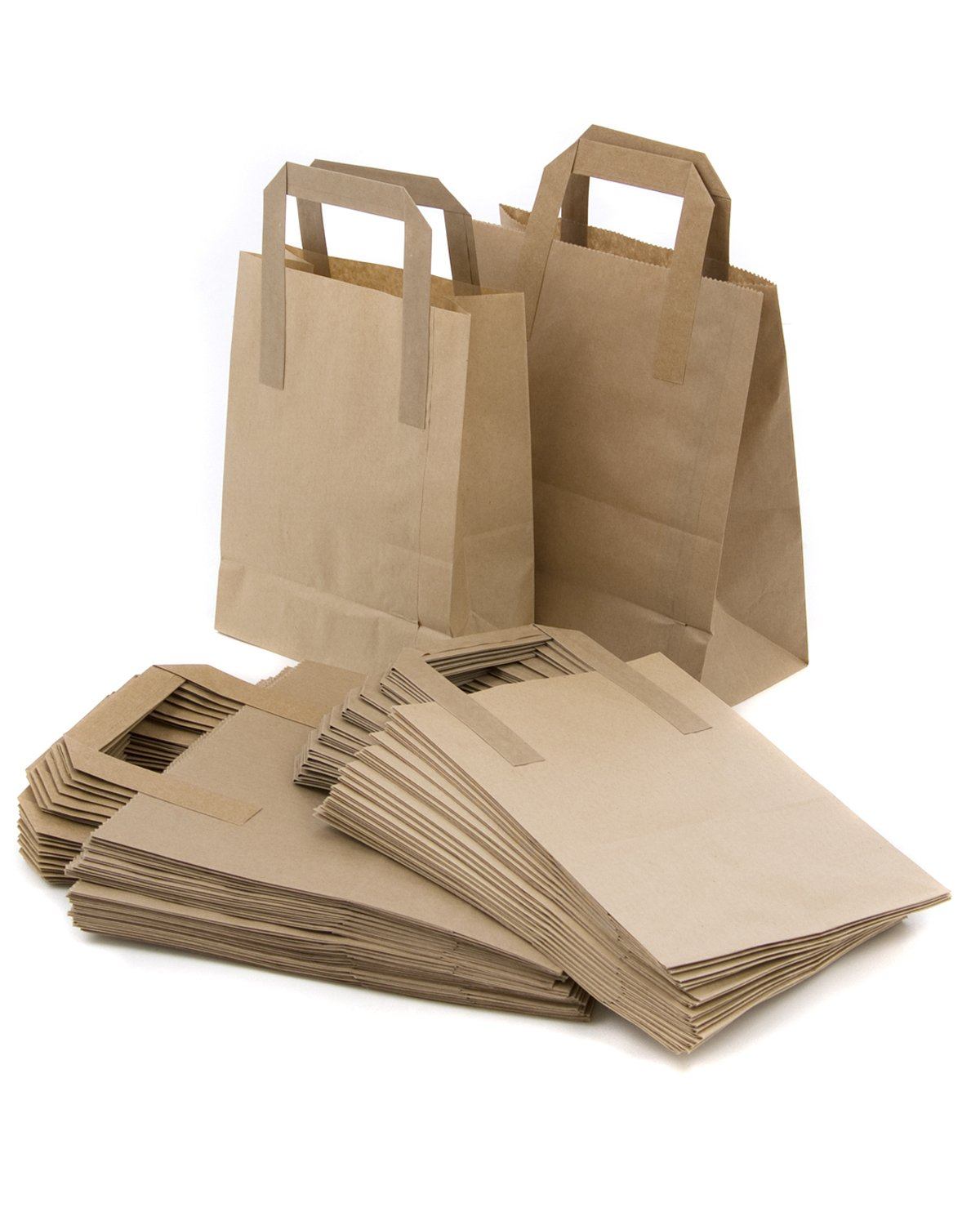 100 Brown Kraft SOS Food Takeaway Paper Carrier Bags 7