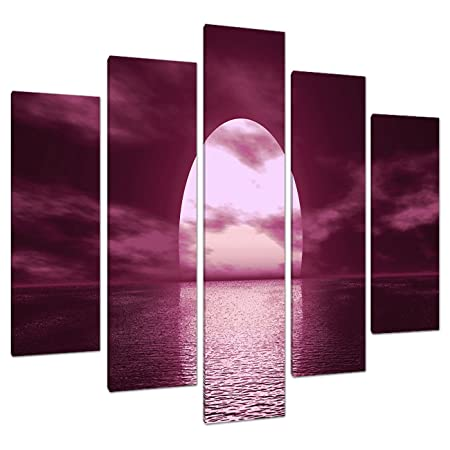 5 Part Plum Canvas Pictures Wall Art UK Living Room Sunset Prints ...