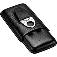 CIGARLOONG Cigar Case Leather Travel Cigar Humidor 3 Tube with Stainless Steel Cutter(Color:Black)