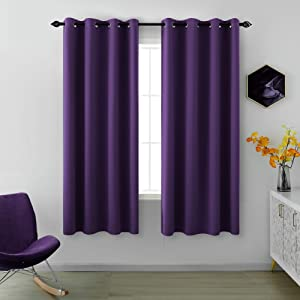Royal Purple Curtains 63 Inch Length for Girls Bedroom Decor Set 2 Panels Window Grommet Blackout Draperies Thermal Blocking Short Insulated Curtains for Teen Kids Room Living Area Dark Purple