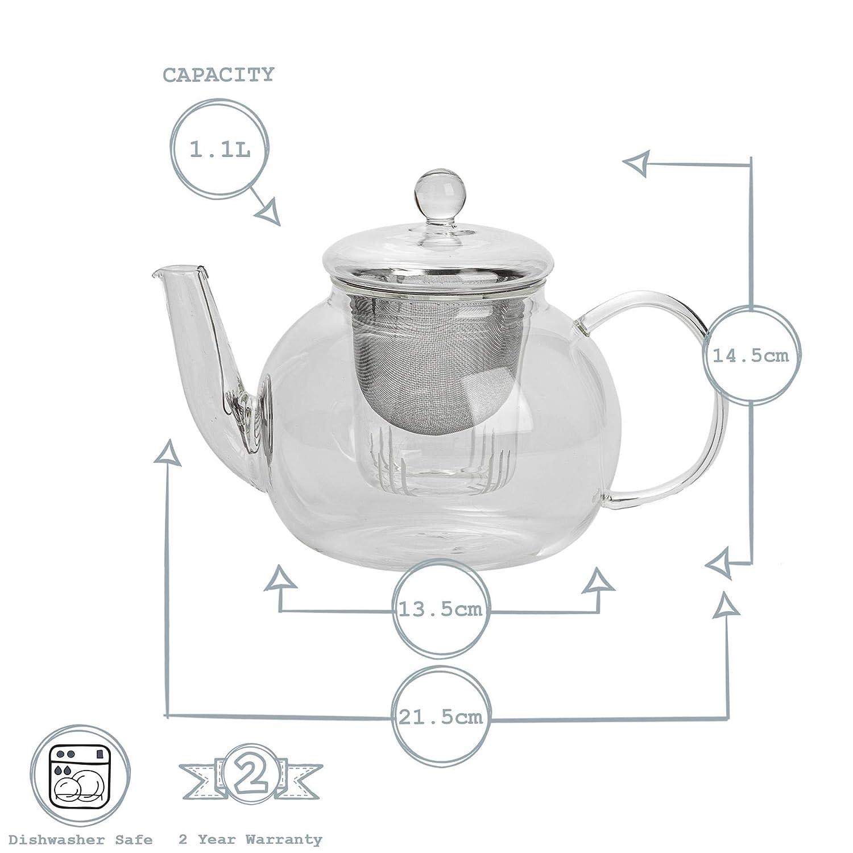 Grande Ideal para t/é Suelto y en Bolsas Cristal Argon Tableware Tetera de 3 Piezas